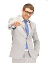 Businessman pointing his finger picture of attractive Royalty Free Stock Photography