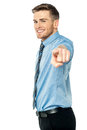 Businessman pointing towards camera Royalty Free Stock Photos