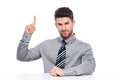 Businessman pointing up young man over white background Royalty Free Stock Image