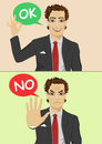 Businessman posing with speech bubble says ok and no