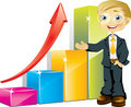 Businessman with positive bar graph Royalty Free Stock Photo
