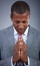 Businessman praying smart with his eyes closed Royalty Free Stock Images