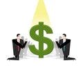 Businessman praying to dollar. Financial idol. Worship of money.
