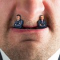 Businessman predator businessmen instead of fangs Stock Images