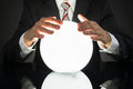Businessman Predicting Future With Crystal Ball Royalty Free Stock Photo