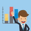 Businessman Present and Graphs Background. Concept Business Vector Illustration Flat Style.