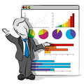Businessman and presentation cartoon of in a business concept Royalty Free Stock Images