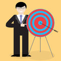 Businessman presentation success right in the bullseye Royalty Free Stock Photo