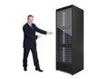 Businessman presenting server rack Royalty Free Stock Photo