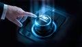 Businessman press start future button with virtual light Royalty Free Stock Photo