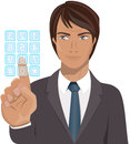 Businessman pressing on clear touch screen keypad illustration featuring business man key of isolated white background eps file is Royalty Free Stock Photos
