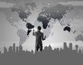 Businessman pressing on digital virtual screen globalization ma marketing conceptual Royalty Free Stock Photography