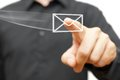 Businessman pressing flying virtual email icon isolated Stock Photo