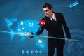 Businessman pressing social media button on digital map Stock Image