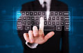 Businessman pressing virtual type of keyboard young Royalty Free Stock Images