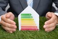 Businessman Protecting Energy Consumption Label On Grass Royalty Free Stock Photo
