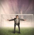 Businessman protects his business Royalty Free Stock Photos