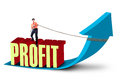 Businessman pulling profit arrow sign white background Royalty Free Stock Photos