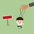 Businessman puppet on ropes in what sounds. Business manipulate Royalty Free Stock Photo