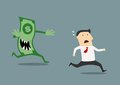 Businessman pursued by an evil dollar banknote running for his life with sharp teeth in a conceptual vector illustration Stock Image