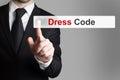 Businessman pushing button dress code Royalty Free Stock Photo