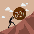Businessman try hard to hold on the cliff with debt burden