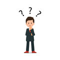 Businessman with question mark pondering problem.