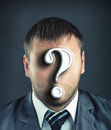Businessman with question mark portrait of faceless Royalty Free Stock Images