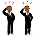 Businessman with question marks embarrassed african and sweat on his forehead Royalty Free Stock Photo