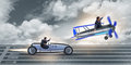 The businessman racing on car and airplane