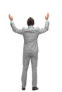Businessman raising hands up from back Royalty Free Stock Photo