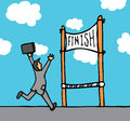 Businessman reaching goal cartoon his Stock Images