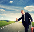 Businessman ready for vacation happy senior Royalty Free Stock Photography