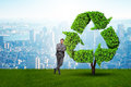 The businessman in recyling sustainable business concept