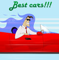 Businessman in a red car . Royalty Free Stock Photo