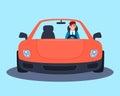 Businessman in a red sport car