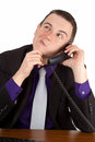 Businessman reflecting young on the phone isolated Royalty Free Stock Photos