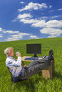 Businessman relaxing drinking coffee tea green field desk man or male feet up at a with a computer in a or Royalty Free Stock Photography