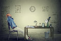Businessman relaxing sitting in the office Royalty Free Stock Photo
