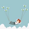 Businessman rich relax on the sky Stock Images