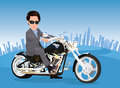 Businessman riding a chopper Royalty Free Stock Photos