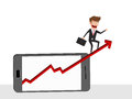 Businessman riding growth arrow graph on smart phone screen. Investment financial and success concept.