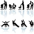 Businessman and Rolling Chair Silhouettes Royalty Free Stock Images