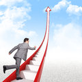 Businessman run on d stair red arrow Stock Image