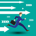Businessman Running Forward With White Arrows