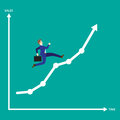 Businessman Running On Growth Line Graph