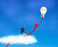 Businessman running on growth red arrow with glowing lamp balloon through cloud in the sky Royalty Free Stock Images