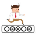 businessman running over gears icon
