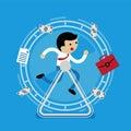 Businessman running in the wheel
