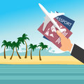 Businessman`s hand holding passport with airplane over tropical beach. Flight travel concept Royalty Free Stock Photo